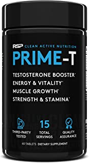 RSP Testosterone Booster for Men, Prime T Natural Test Booster Pills, Increase Free Testosterone, Lean Muscle Growth, Stre...