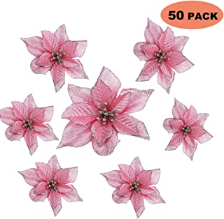 WOOPOWER Glitter Poinsettia Christmas Tree Ornament Artificial Wedding Christmas Flowers Xmas Tree Wreaths Decor Ornament, 5.5inch - 50 Pack (Pink)