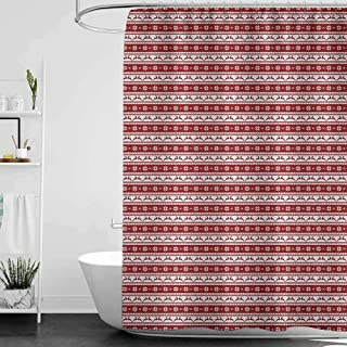 SKDSArts Shower Curtains Tattoo Christmas,Norwegian Scandinavian Traditional Vintage Style Borders Reindeer Striped Flower, Red White,W48 x L72 Christmas Palm Shower Curtain
