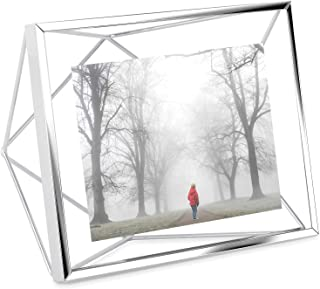 Umbra Prisma Picture Frame, 4x6 Photo Display for Desk or Wall, Chrome