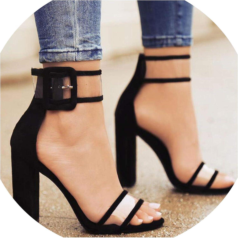 Women Heels Transparent Sexy Pumps Plus Size 35-42 Buckle Strap Flock High Heels Summer Ladies Party Sandals