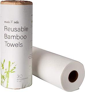MAVIS MIKI Reusable Bamboo Towels   30 Sheets per roll (1 Pack)   Heavy Duty, Washable & Reusable, Money Saving, Kitchen P...