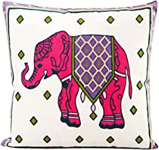 VOGOL Hand Made National Embroidery Bohemian Housewarming Car Home Decoration Cushion Cover/Throw Pillow Cover (Elephant-Red)