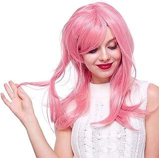 Long Pink Wigs for Women, Women's Pink Long Wavy Wig for Women Halloween Cosplay Wigs (Pink)
