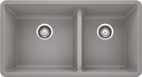 popular BLANCO wholesale 441130 16-Inch Précis new arrival 1-3/4 Bowl Sink, Gray, 33 X 18 X 9.5 sale