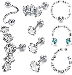 MODRSA 16g Cartilage Earring Stud Hoop for Women Tragus Stud Earring Cartilage Piercing Jewelry Surgical Stainless Steel F...