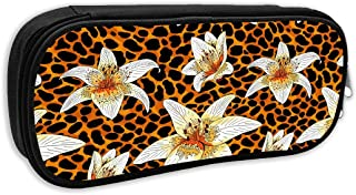 SARA NELL Pen Bag Pouch Lily Tiger Orange Leopard Skin Animal Pattern Pencil Case Stationary Case Makeup Cosmetic Bag for Student Boys Girls