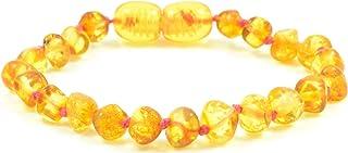 Cavigliera / Braccialetto in ambra baltica non lucidata - color miele - Realizzata a mano da perle in ambra baltica naturale