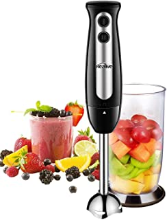 Immersion Blender, Kealive 2-in-1 Hand Blender with 700ml BPA-Free Beaker, 304 Stainless Steel Blades, Ergonomic Handle, 2-Speed Immersion Hand Blender for Baby Food, Juices, Sauces and Soup, 300W