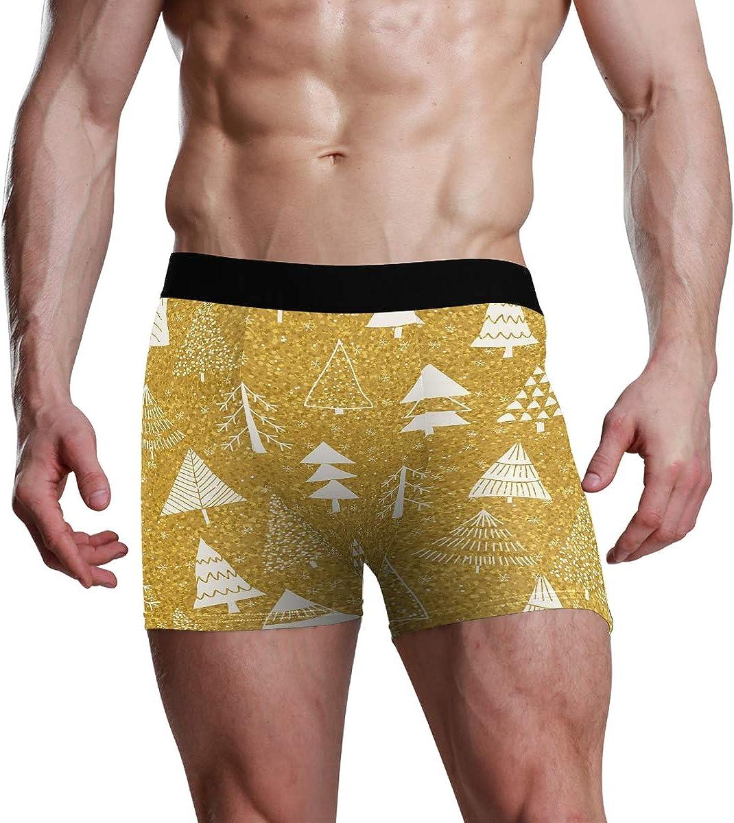 Men's Boxer Briefs Happy New Year Seamless Pattern Bikini Underwear Stretch Trunks Boys Underpants