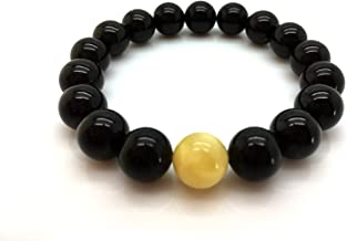 Natural Baltic Amber Bracelet Cherry Colour with White Bead 10,6g 10± mm Size.