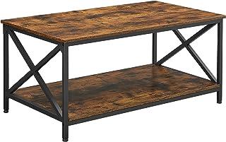 VASAGLE Table basse, Table de salon, avec cadre en acier en forme de X et étagère de rangement, 100 x 55 x 45 cm, style in...