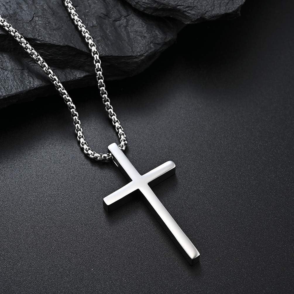 YaumaTea Philippians 4:13 Cross Pendant Necklace for Men & Women, Bible Verse, Faith Religious, 2-color, Stainless Steel