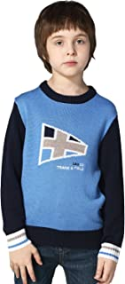 Boys' Wool Blends Casual Dobby Sweater Pullover Blue