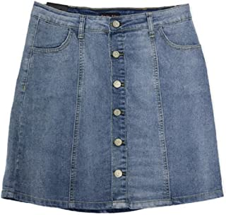 No Fuze Plus Size Casual Womens Stretch Denim Button Flare Skirt with Side Pockets Size 18