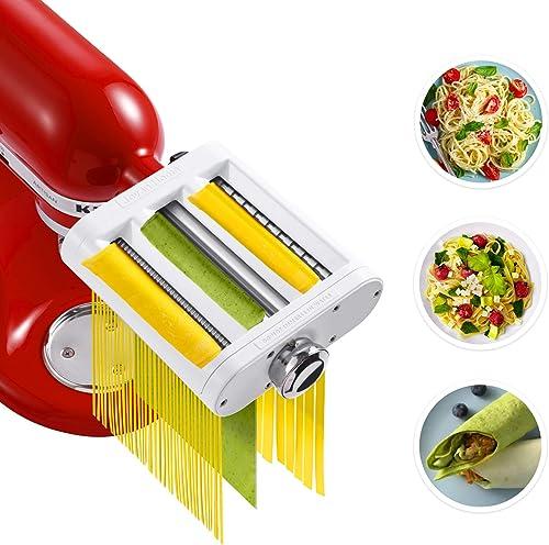 Pasta Maker Attachment for KitchenAid Stand Mixers 3 in 1 Set Includes Pasta Roller Spaghetti Cutter & Fettuccine Cut...