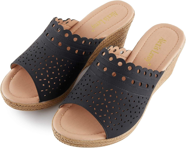 Alexis Leroy Women's Open Toe Comfort Slip On Wedge Slide Sandals