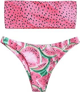 ZAFUL Womens Watermelon High Cut Swimwear High Waist Fruit Bikini Set