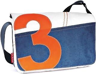 360° Grad Umhängetasche Unisex, Segeltuch-Tasche Barkasse-Mini weiss/blau mit Zahl Neon Orange, Gurt Blau, wetterfest, maritim