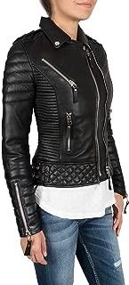 Aries Leathers Women New Biker Real Lambskin Leather Jacket WJ04