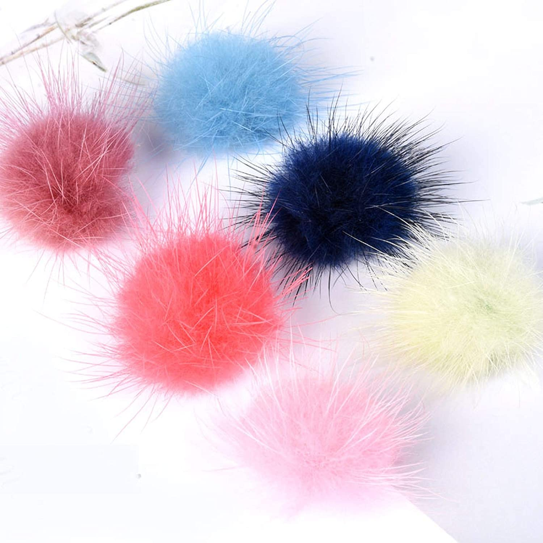 5 St/ück weich Winter happy Bommel mit Fellbommel Haarkugel zum Basteln bunt Bommel flauschig 40 mm