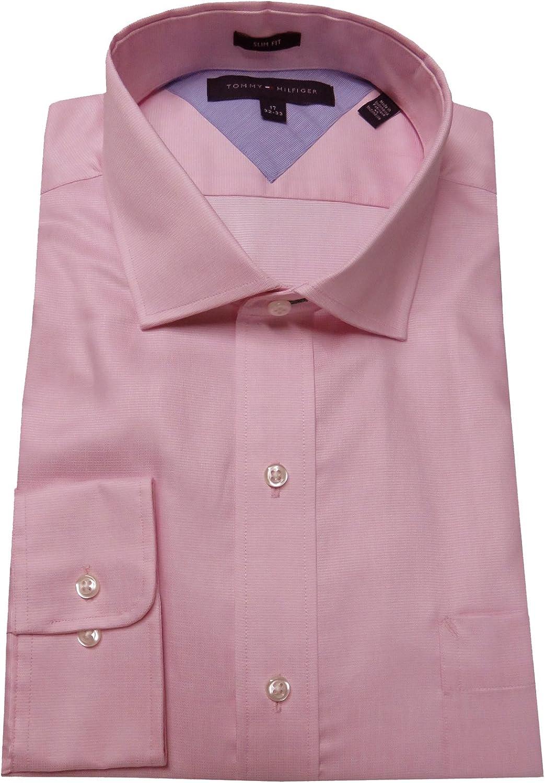 Tommy Hilfiger Men's Slim Fit Shirt, Size 17-32/33, Pink