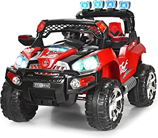 Costzon Ride On Truck, 12V Battery Powered Car, Parental Remote Control & Manual Modes Vehicle w/Colorful LED Lights, MP3, Volume Control, Overload Protection for Kids (Red)