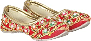 Buckled Up Red mojri with threadwork and Stone