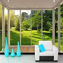 Alasijia zelfklevend wandbehang 3D stereoscopic Space venster balkon bos landschap woonkamer sofa TV achtergrond fotobehan...