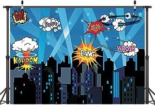 LYWYGG 7x5FT Vinilo Niños Fotografía Fondo Colorido de Dibujos Animados Fondo de Edificios de la Ciudad Telón de Fondo para la Fiesta de cumpleaños Fiesta de Bienvenida al bebé recién Nacido CP-137