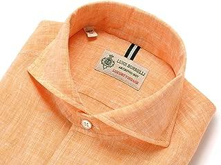 ルイジボレッリ ルイジボレリ LUIGI BORRELLI / 20SS!製品洗いリネンポプリン無地イタリアンカラーシャツ「VESUVIO(9130)」 (オレンジ) メンズ