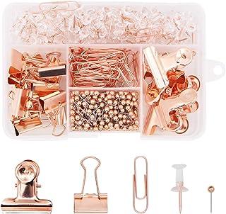 مجموعة قرطاسية مكتبية 500 قطعة، مشابك ورقية وردية مطلية بالذهب مشابك دبوس دفع دبابيس رأس مستديرة 5 في 1 صندوق لللوازم المك...