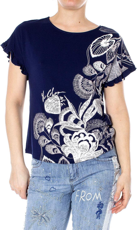 DESIGUAL TS CHEROKEES 19SWTKBV bleu marine blanc top tee shirt femme 5000 Navy