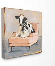The Stupell Home Décor Collection The Stupell Home Decor Sweet Baby Calf on a Pink Couch Neutral Color Painting Canvas Wal...