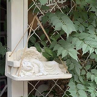 Luckyw Trädgårdsprydnader retro ängel vattentät harts trädgårdsstaty för gård landskap gräsmatta dekoration hantverk gåva