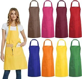 پیش بندهای بزرگ بیب DUSKCOVE 8 عدد - پیش بند تجاری رنگی با 2 جیب برای آشپزخانه آشپزخانه رستوران BBQ نقاشی