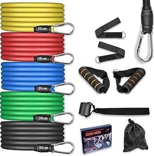 AGM Set de Bandas de Resistencia Fitness, 5 Bandas elásticas de látex con Asas, Bandas elásticas para Entrenar con Soporte...