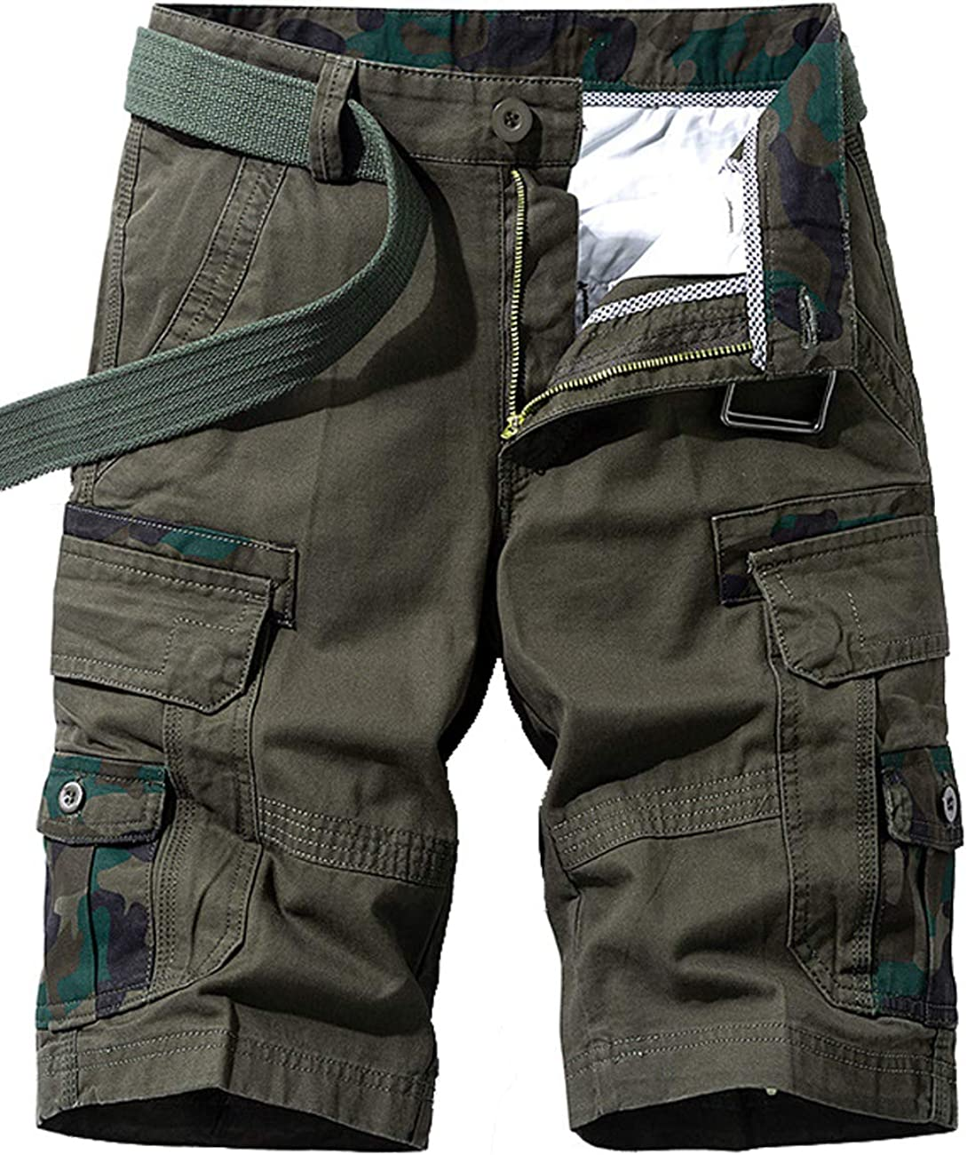 Men's Lightweight Multi Pocket Casual Cargo Shorts with No Belt 7.Army Green 30