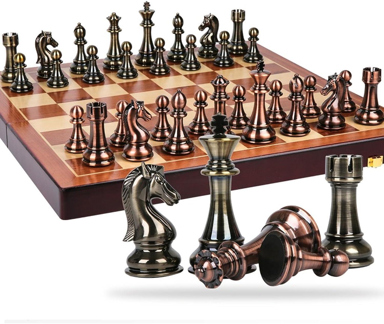 moda clasica Nwn Juego de ajedrez ajedrez ajedrez Retro Europeo, Adornos de Gama Alta Juego de ajedrez ajedrezado de Madera Plegable ajedrez de Gran tamaño (Color   B)  ahorrar en el despacho