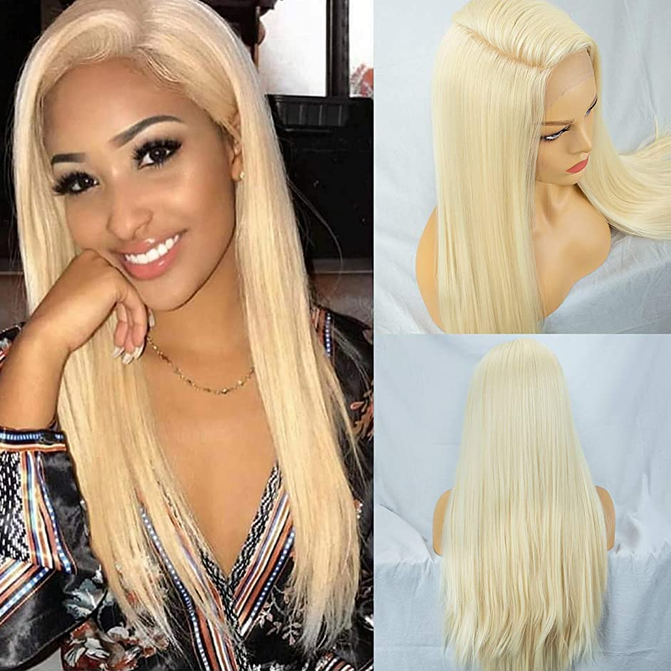 Everystylehair 13×6 Lace Front Wig Blonde Yaki Long Straight 613 Synthetic Wigs for Women Free Part Heat Resistant,With Free Cap