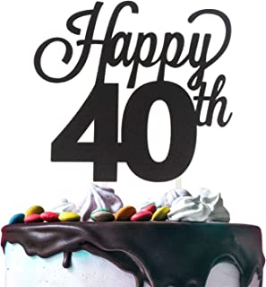 Happy 40th Birthday Black Glitter Cardstock Paper Cake Topper Cheers to 40 Years Old Bday Party Gift Photo Booth Sign Decoration - Premium Double Sided