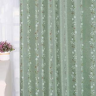 Baibu Home カーテン かわいい 幅100cm×丈135cm 花柄 2枚組 ドレープ 遮光 カーテン 2級遮光 洗濯可 おしゃれ 形状記憶 断熱 落ち着くグリーン