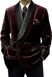 Men's Smoking Jackets Burgundy Velvet Blazer Quilted Smoking Jacket Dinner Jackets Velvet Robe Gown