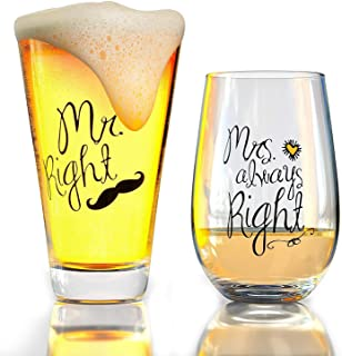 Funny Wedding Gifts Mr. Right and Mrs. Always Right Novelty Wine Glass, Beer Glass Combo, Thick Libbey Glassware, Engagement for Her and Him, Newlywed Gift for Couples by Momstir