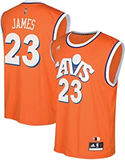 Lebron James Cleveland Cavaliers Replica Orange Throwback Youth Jersey Boys 8-20