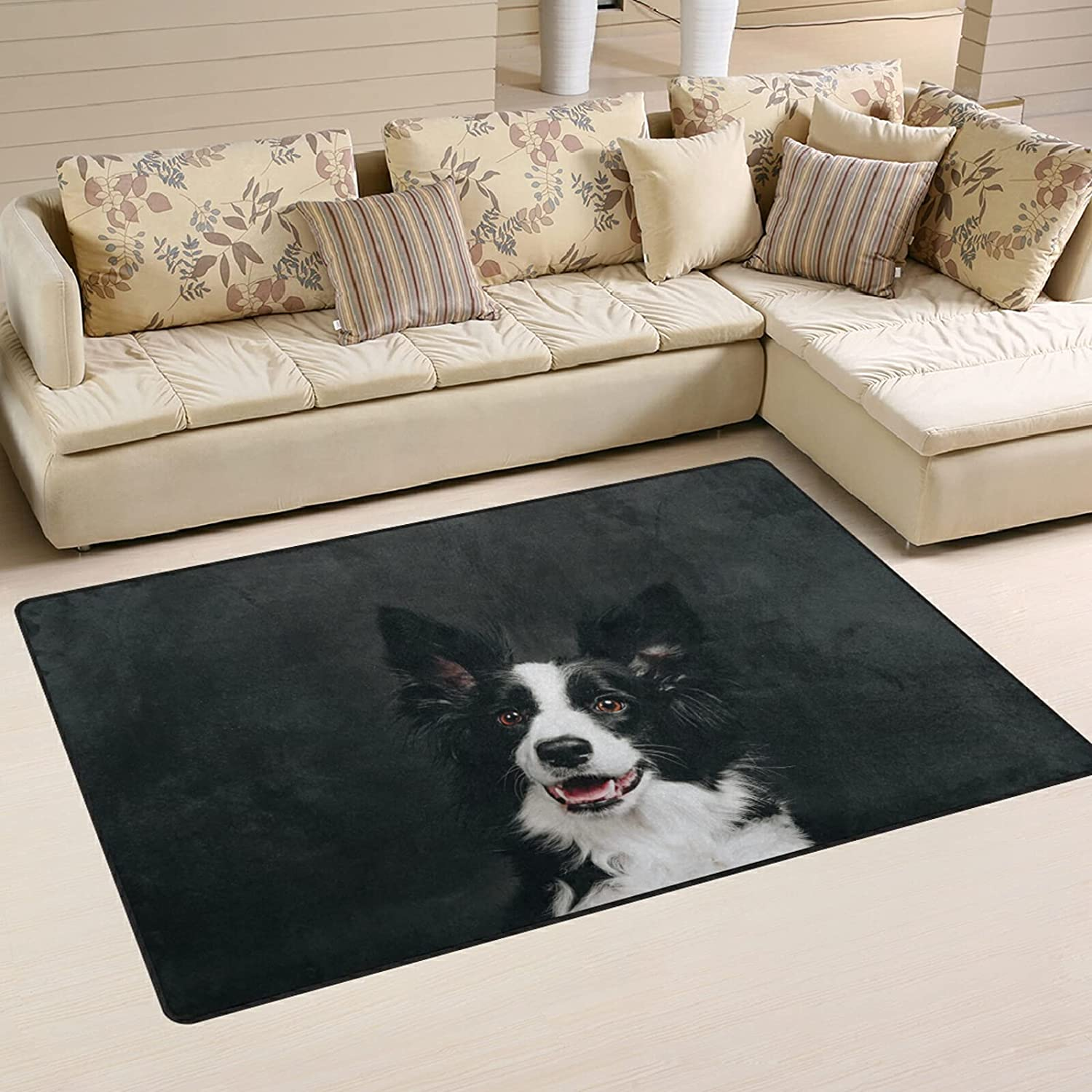Border Collie Funny Dog Max 77% OFF Large Soft Don't miss the campaign Nursery Rug Playmat Rugs Area