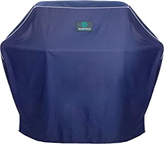 """Highfield Edition Premium Grill Cover 58"""", Beautiful Navy Blue White Piping, Heavy Duty, Water UV Weather Resistant, Tough, fits Most Brands of 3-4 Burner Hooded barbecues Weber, CharBroil, Brinkmann"""