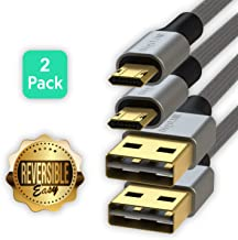 LINKUP Reversible Micro USB Cable Braided Jacket w/Silicone Coating Ultra Durable 3FT 6FT Dual Pack