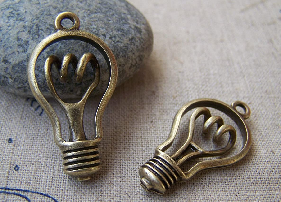 6 pcs of Antique Bronze Lovely Bulb Charms 18x29mm (CB029)
