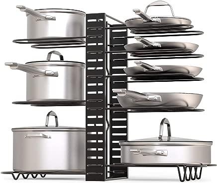 GeekDigg Pot Rack Organizer, 3 DIY Methods, Height and Position are Adjustable 8+ Pots Holder, Black Metal Kitchen Cabinet Pantry Pot Lid Holder (Upgraded)